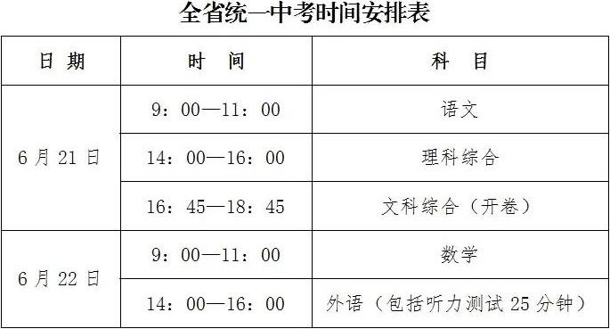 河北省2021年中考时间,全省统一中考时间安排表