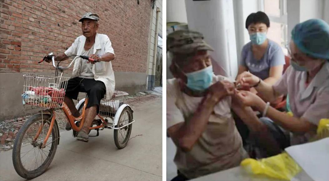 """高阳百岁老人主动接种新冠疫苗,为防疫贡献一""""臂""""之力!"""